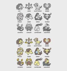 Zodiac icons sketch vector image