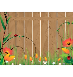 Wooden fence and flowers vector