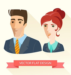 Businessman and businesswoman working team flat vector