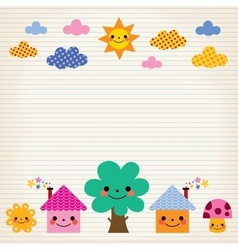 Cute houses tree sun mushroom clouds kids lined vector