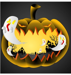 Halloween pumpkin on black background vector