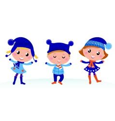 Cute winter kids vector