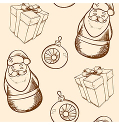 Vintage hand drawn christmas seamless pattern vector