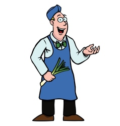 greengrocer with leek showing something vector image