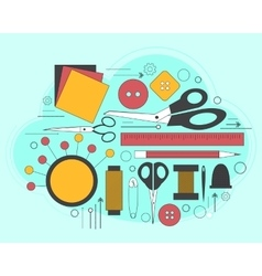 Set of accessories for sewing and handmade paper vector