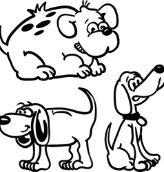 Black and white dogs vector