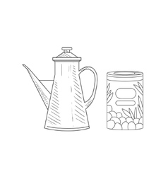 Can of olives and old-school pitcher hand drawn vector