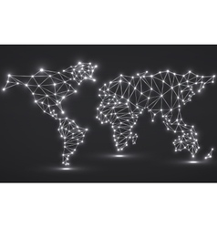 Abstract polygonal world map with glowing dots and vector image vector image
