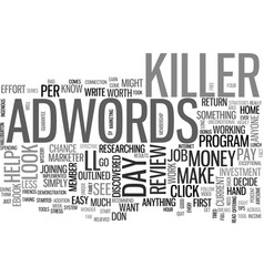Adwords killer review good or bad text word cloud vector