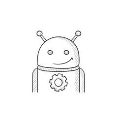 Android with gear sketch icon vector image
