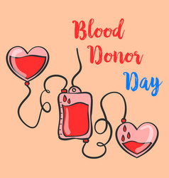 Blood donor day hand draw doodle style vector