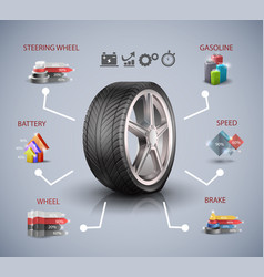 car wheel infographic elements vector image
