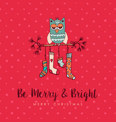 christmas decoration socks cute owl cartoon card vector image vector image
