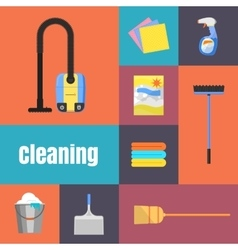 Cleaning icons on banner vector