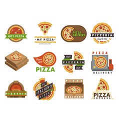 Delivery pizza logo badge pizzeria restaurant vector