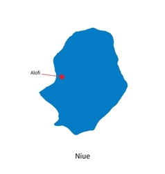 Detailed map of Niue and capital city Alofi vector image vector image