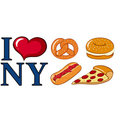 Different food and i love new york sign vector