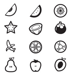 Fruit cut slice icons vector