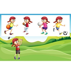 Girl playing golf and other sports vector image vector image