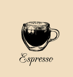 glass mug cup of coffee espresso vector image