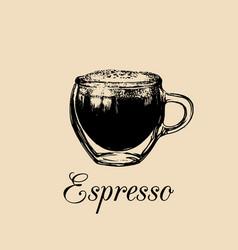 Glass mug cup of coffee espresso vector