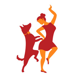 Icon with girl and dog with dancing vector