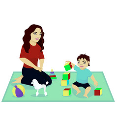Mother play with baby vector