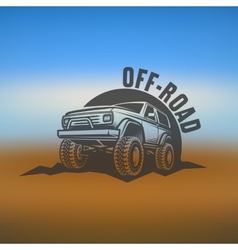 off-road suv car monochrome labels emblems vector image