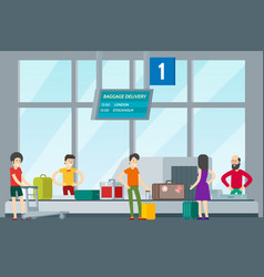 people in airport template vector image