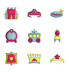 Princess things icons set flat style vector