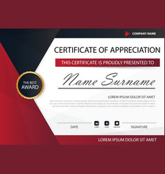 red black elegance horizontal certificate with vector image vector image