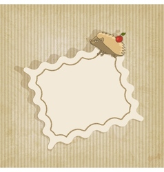 retro background with hedgehog vector image vector image
