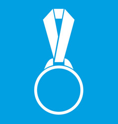 Round medal with ribbon icon white vector
