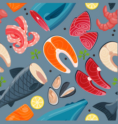 sea food seamless pattern vector image vector image