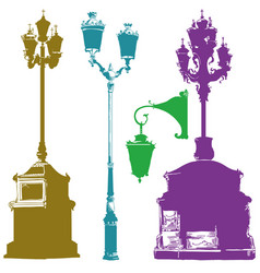 Set of different olorful street lanterns vector
