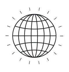 Silhouette front view globe earth world chart with vector