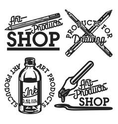 Vintage art products shop emblems vector
