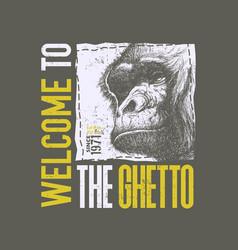 vintage urban typography with gorilla head vector image vector image