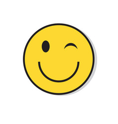 Yellow smiling face wink positive people emotion vector