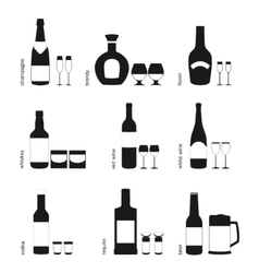 Alcohol drinks glasses and bottles icons vector