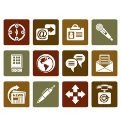 Flat business office and internet icons vector
