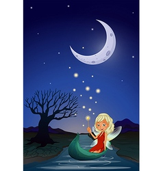 A fairy in the middle of the night vector image
