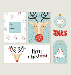 Merry christmas deer greeting card and label set vector