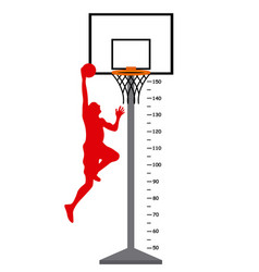 meter basketball basket with player vector image
