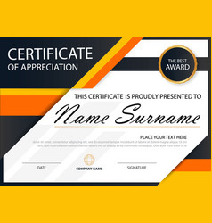 Orange elegance horizontal certificate vector