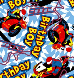 Birthday boy motorbike seamless pattern vector
