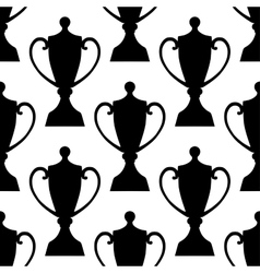 Sports trophy cups seamless pattern vector