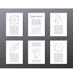 Cards with text and geometric shapes for vector