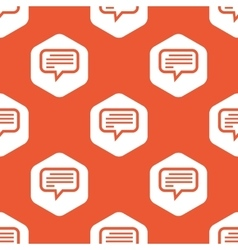 Orange hexagon text message pattern vector