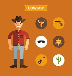 Flat design of cowboy with icon set infographic vector